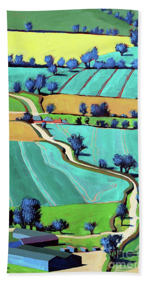 Country Lane Beach Towel featuring the painting Country Lane Summer II by Paul Powis