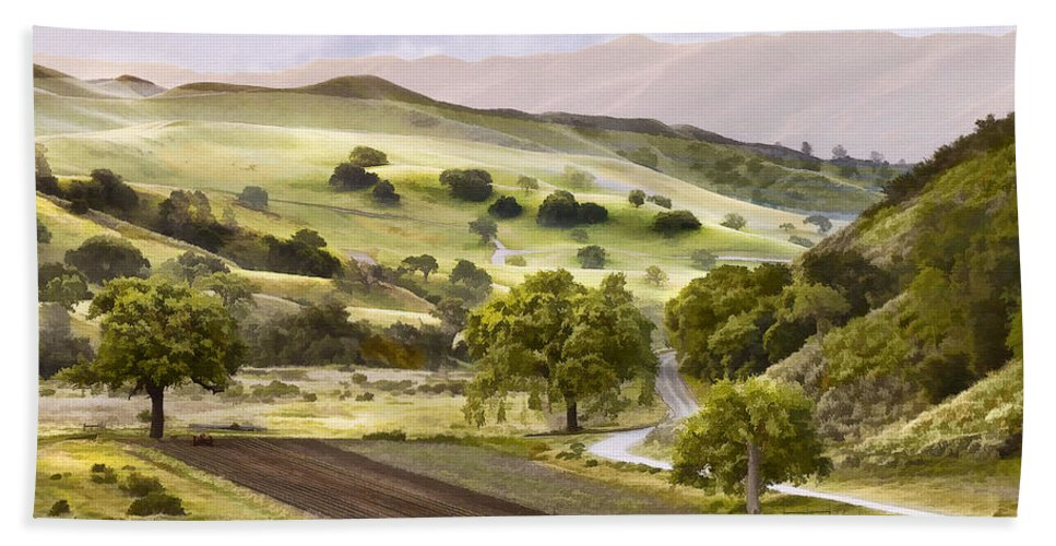 California Beach Towel featuring the digital art Country Morning by Sharon Foster