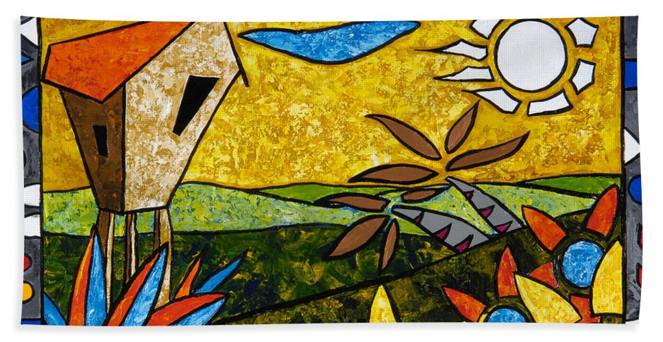 Puerto Rico Beach Towel featuring the painting Country Peace by Oscar Ortiz