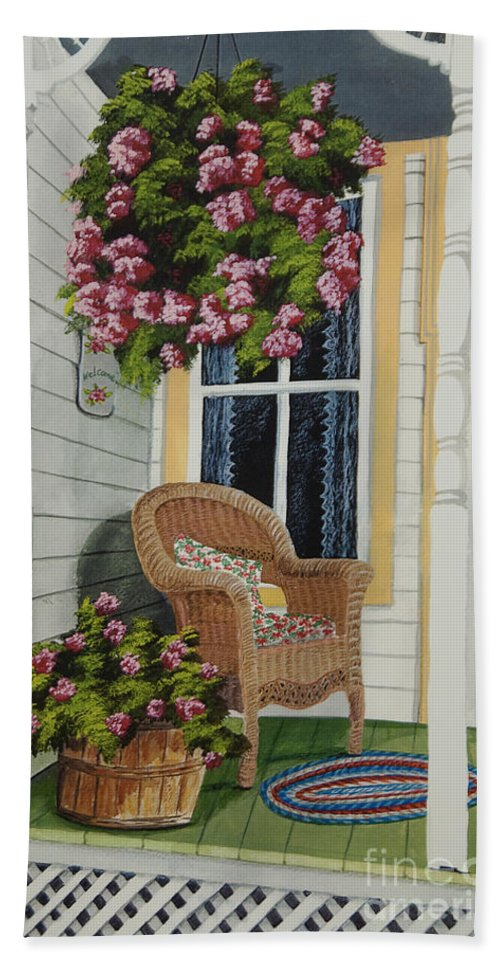 Country Porch Beach Towel featuring the painting Country Porch by Charlotte Blanchard