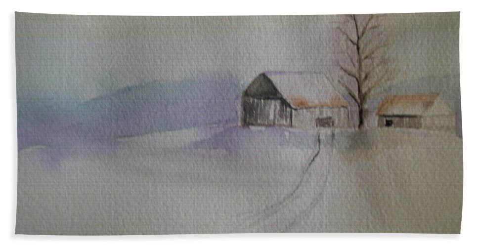 Barn Snow Winter Tree Landscape Cold Beach Sheet featuring the painting Country Snow by Patricia Caldwell