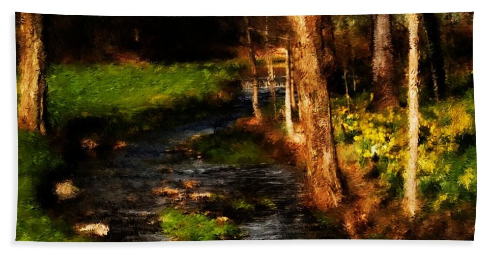 Digital Photo Beach Towel featuring the photograph Country Stream by David Lane