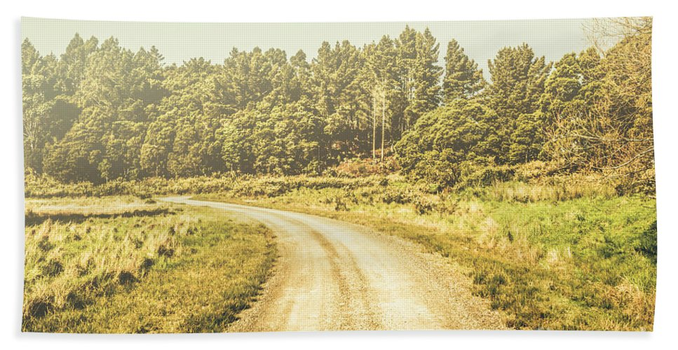 Australian Beach Towel featuring the photograph Countryside Road In Outback Australia by Jorgo Photography - Wall Art Gallery