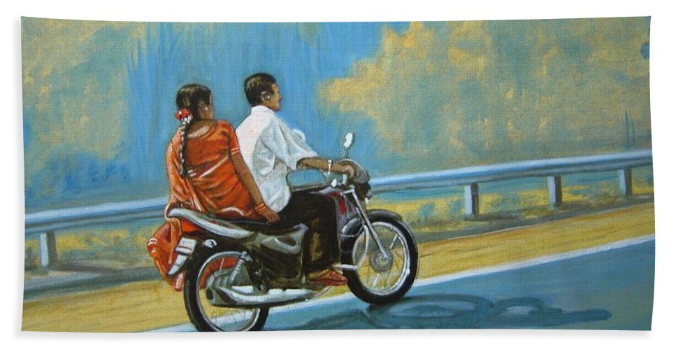 Couple Beach Towel featuring the painting Couple Ride On Bike by Usha Shantharam