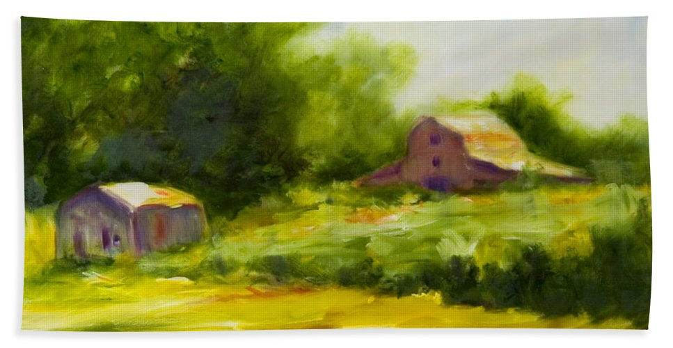 Landscape In Green Beach Towel featuring the painting Courage by Shannon Grissom