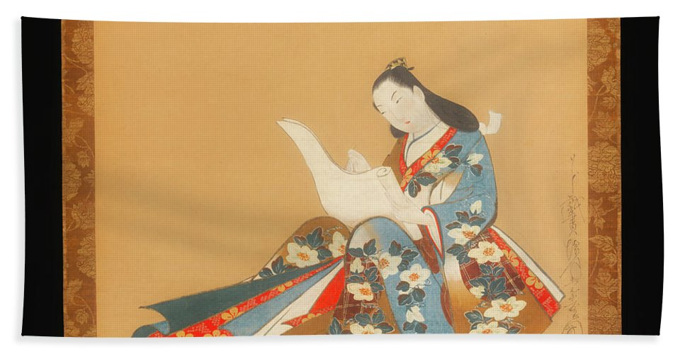 Painting Beach Towel featuring the painting Courtesan Writing A Letter by Mountain Dreams