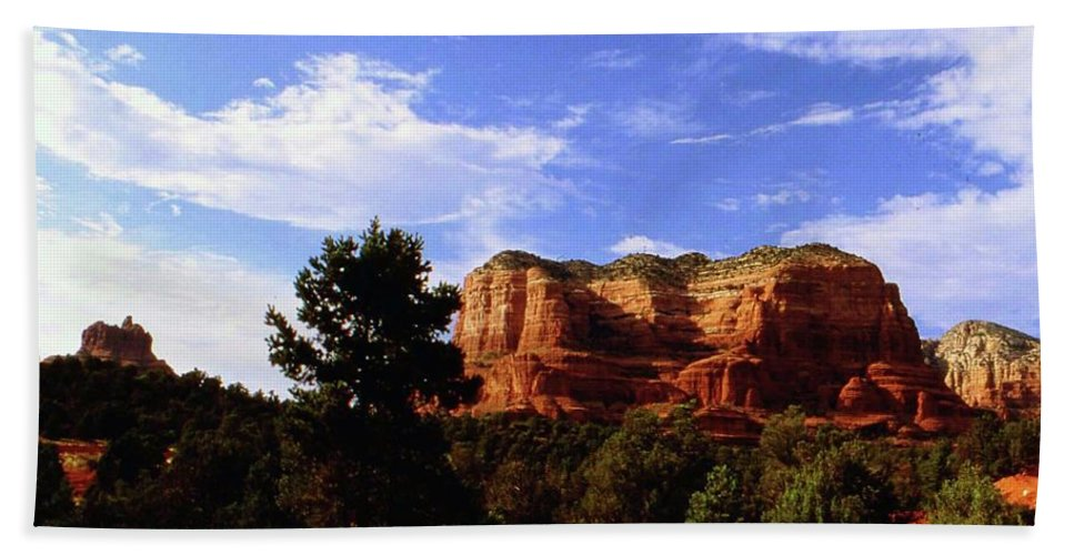 Arizona Beach Towel featuring the photograph Courthous Butte by Gary Wonning