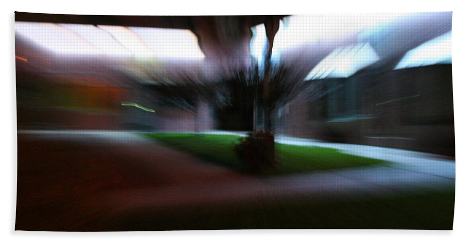 Courtyard Beach Towel featuring the photograph Courtyard At Night by Ric Bascobert