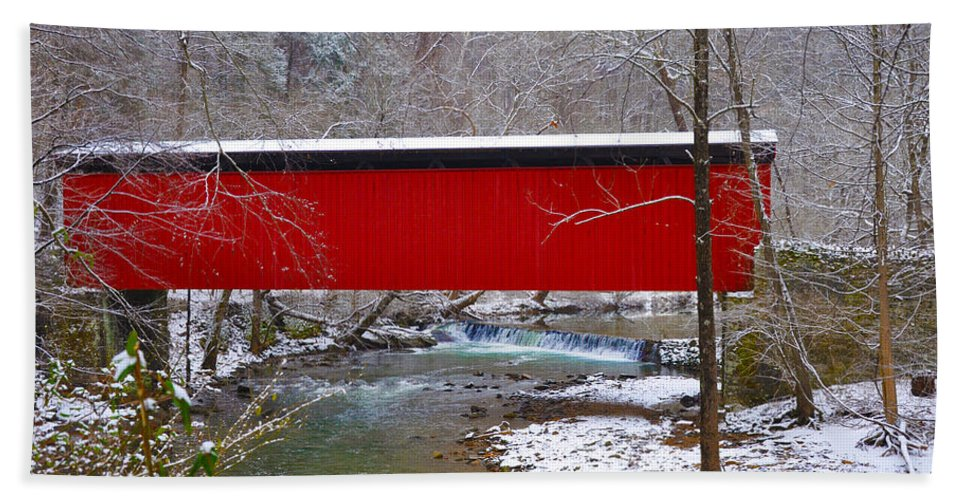 Philadelphia Beach Towel featuring the photograph Covered Bridge Along The Wissahickon Creek by Bill Cannon