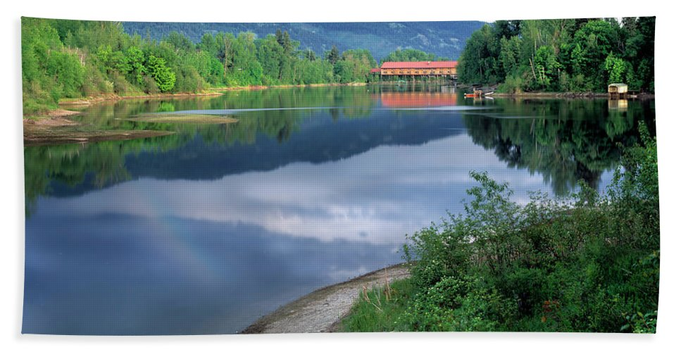 Idaho Scenics Beach Towel featuring the photograph Covered Bridge by Leland D Howard