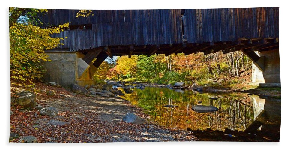 Cold River Beach Towel featuring the photograph Covered Bridge Over The Cold River by Steve Brown