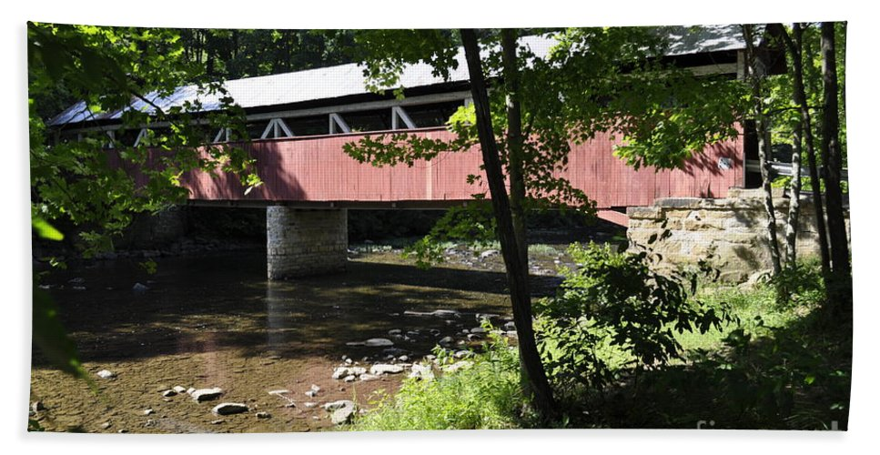 Somerset County Covered Bridge Beach Towel featuring the photograph Covered Bridge by Penny Neimiller
