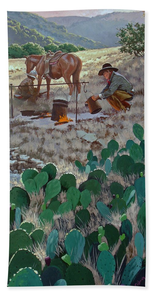 Texas Beach Towel featuring the painting Cowboy Coffeebreak by Russell Cushman