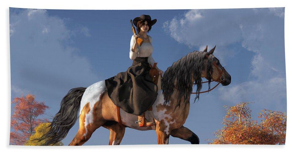 Cowgirl Beach Towel featuring the digital art Cowgirl by Daniel Eskridge