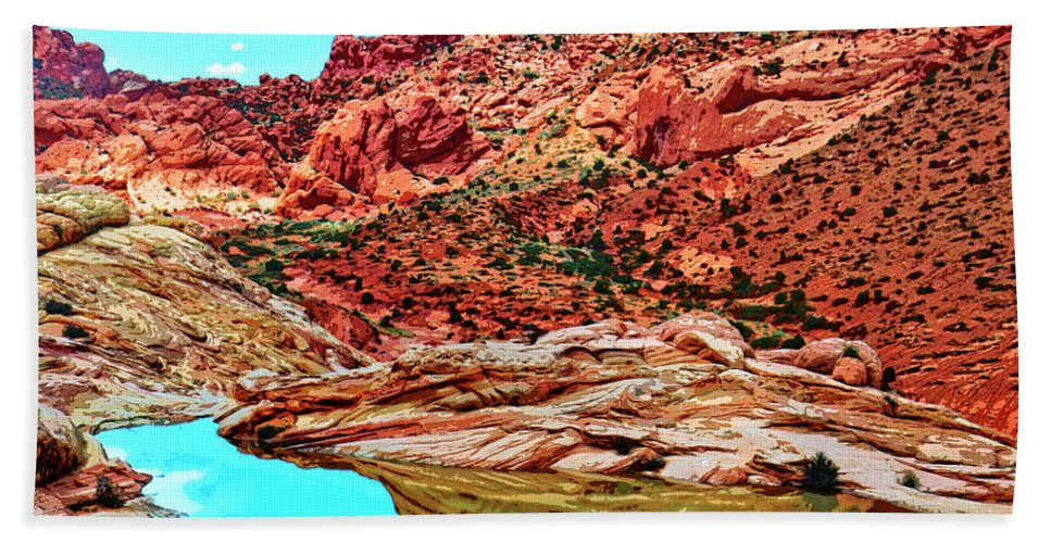 Coyote Butte Beach Towel featuring the mixed media Coyote Butte by Dominic Piperata