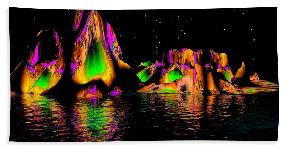 Mountains Beach Towel featuring the digital art Coyote Moon- by Robert Orinski