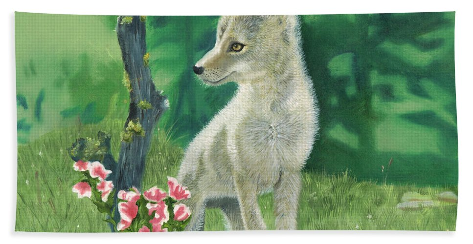 Dog Beach Towel featuring the painting Coyote Pup by Terry Lewey
