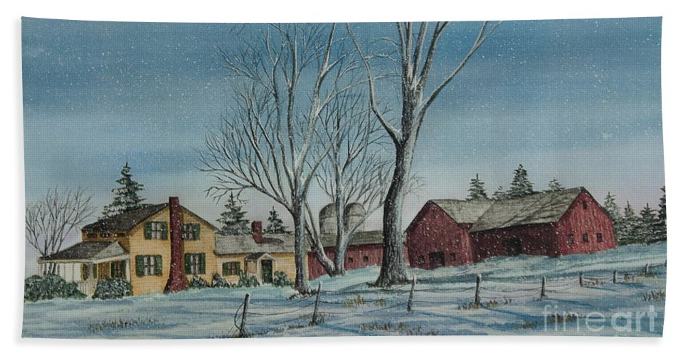 Farmhouse Beach Towel featuring the painting Cozy Winter Night by Charlotte Blanchard