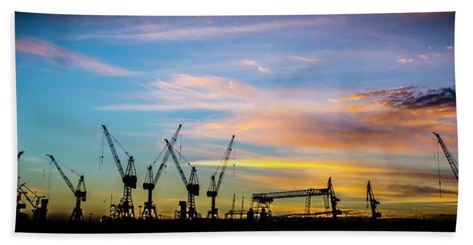 Docks Beach Towel featuring the photograph Crane You Neck To The Sunrise. Hamburg, Germany. by William Mankelow