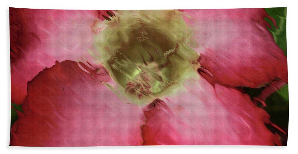 Flower Beach Towel featuring the photograph Craquelure Pink Flower by Deborah Benoit