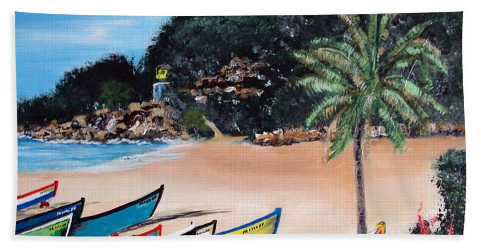 Aguadilla Beach Towel featuring the painting Crashboat Beach I by Luis F Rodriguez