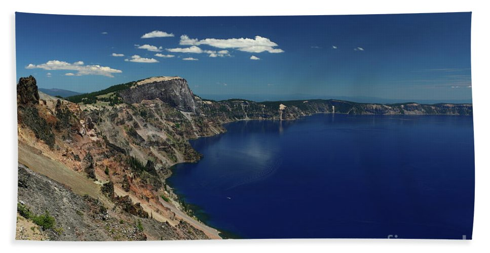 Crater Lake Beach Towel featuring the photograph Crater Lake A Caldera Lake by Christiane Schulze Art And Photography