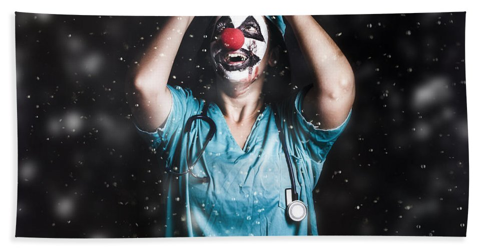 Clown Beach Towel featuring the photograph Crazy Doctor Clown Laughing In Rain by Jorgo Photography - Wall Art Gallery