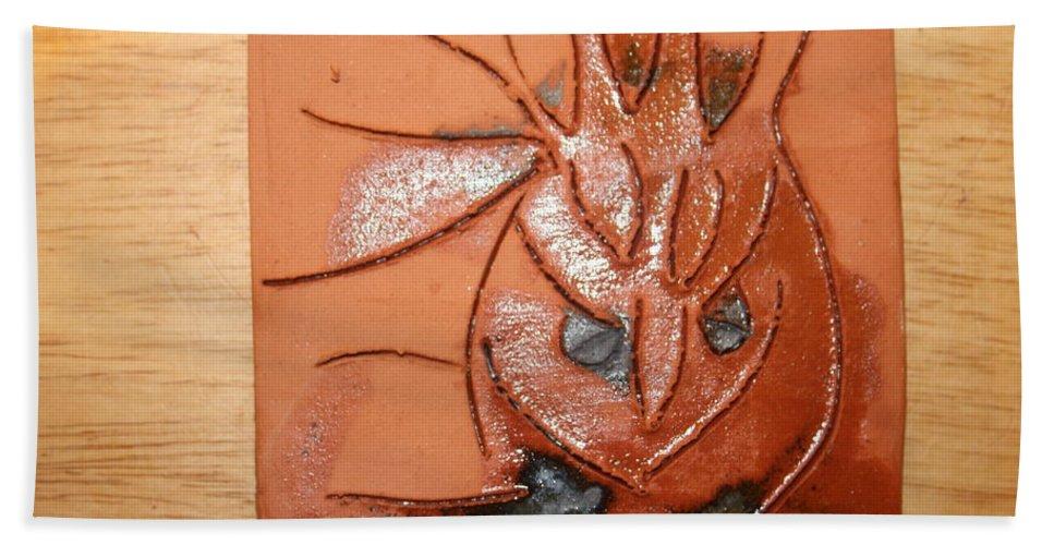 Jesus Beach Towel featuring the ceramic art Crazy Pineapple by Gloria Ssali