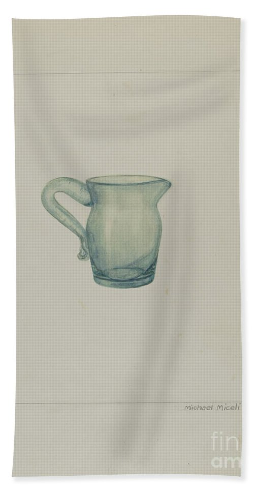 Beach Towel featuring the drawing Cream Pitcher by Michael J. Miceli