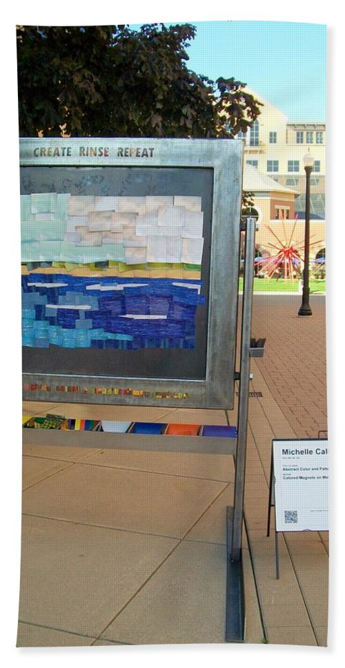 Steel Beach Towel featuring the sculpture Create Rinse Repeat by Michelle Calkins