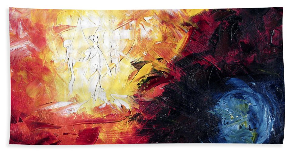 Abstract Beach Towel featuring the painting Creation by Lewis Bowman
