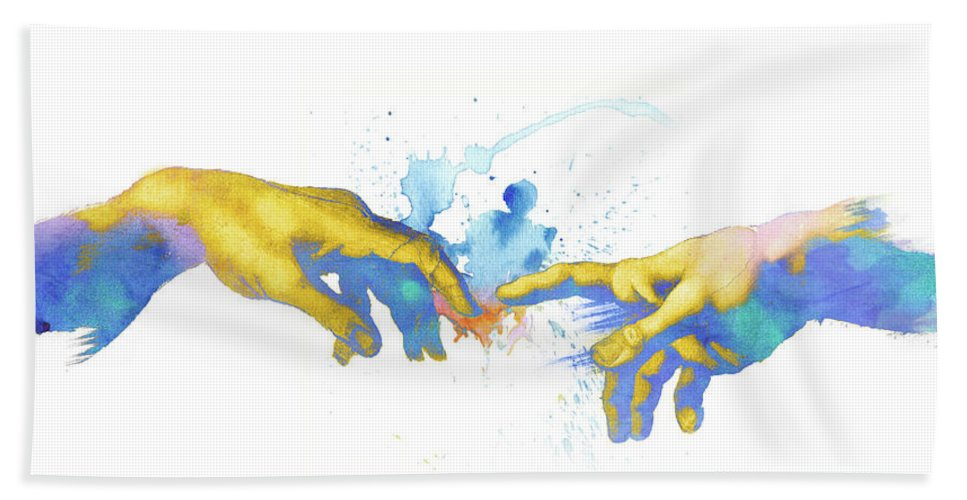 21068970e8a9 Creation Of Adam Beach Towel featuring the painting Creation Of Adam After  Michelangelo Watercolor Painting by