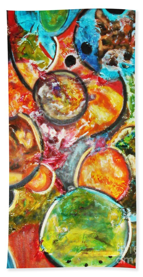 Acrylic Painting Beach Towel featuring the painting Creative by Yael VanGruber