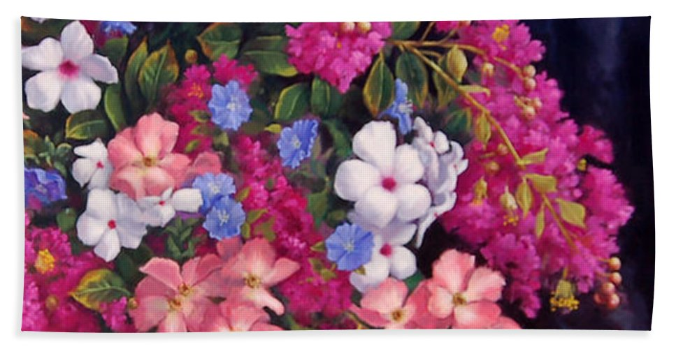 Roses Beach Towel featuring the painting Crepe Myrtle And Roses by Johanna Girard