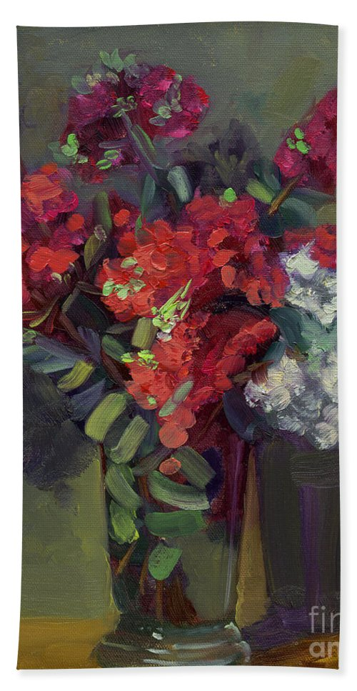 Floral Beach Towel featuring the painting Crepe Myrtles In Glass by Lilibeth Andre
