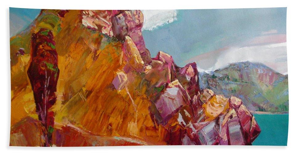 Ignatenko Beach Towel featuring the painting Crimea by Sergey Ignatenko