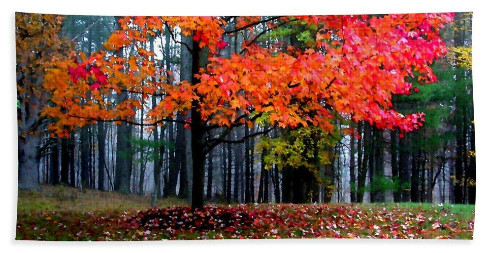 Autumn Beach Towel featuring the painting Crimson Tree by Paul Sachtleben