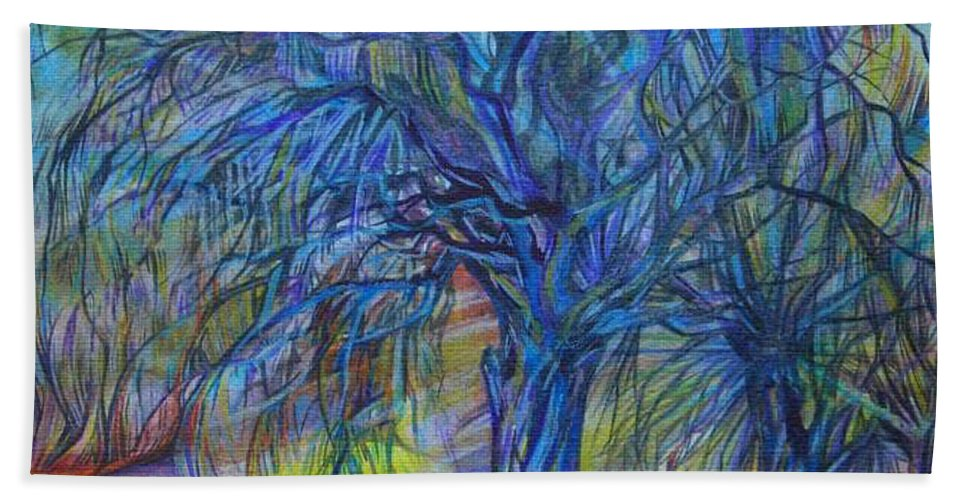 Blue Beach Towel featuring the drawing Crystal Light by Anna Duyunova