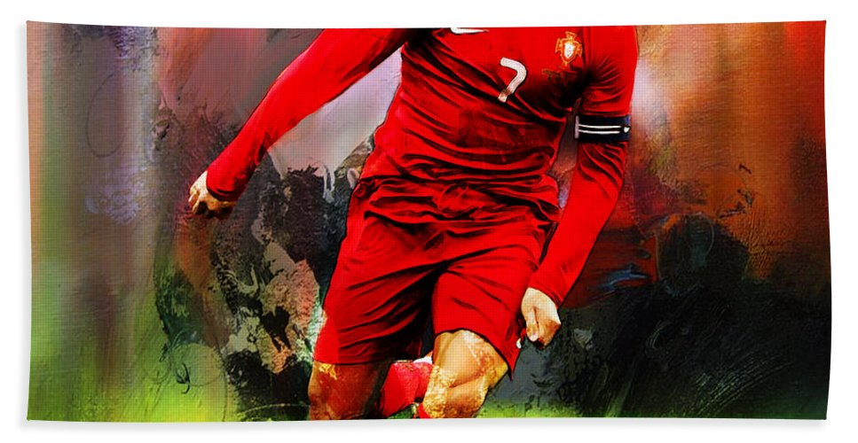Cristiano Ronaldo Beach Towel featuring the painting Cristiano Ronaldo 08a by Gull G