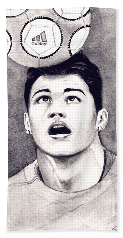 Ronaldo Portrait Beach Sheet featuring the painting Cristiano Ronaldo by Alban Dizdari