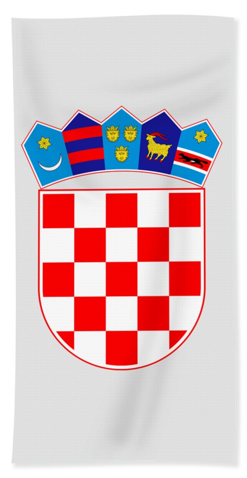 Croatia Beach Towel featuring the drawing Croatia Coat Of Arms by Movie Poster Prints