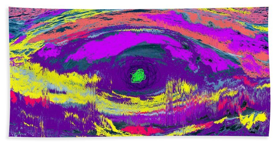 Abstract Beach Towel featuring the digital art Crocodile Eye by Ian MacDonald