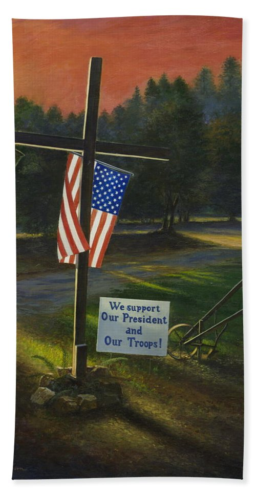 Cross Beach Towel featuring the painting Cross Of Remembrance by Randy Welborn