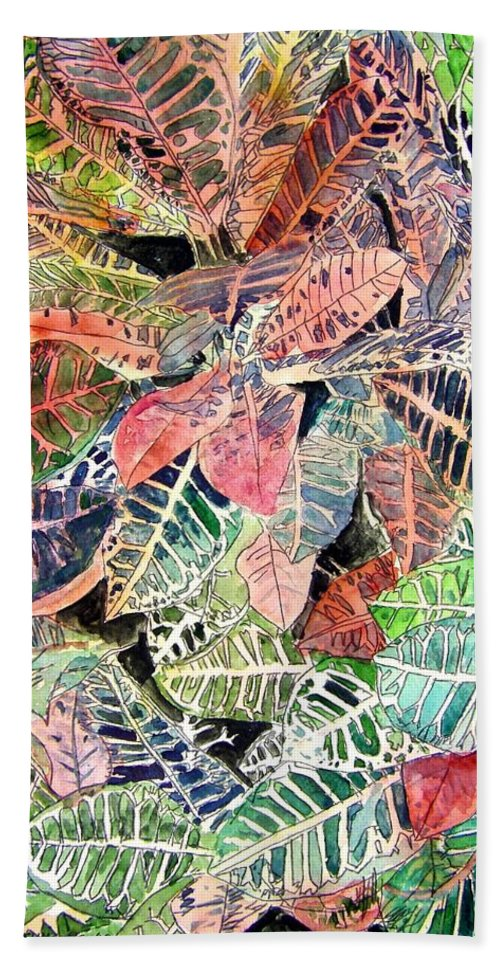 Croton Beach Towel featuring the painting Croton tropical art print by Derek Mccrea