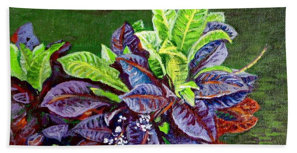 Crotons Beach Towel featuring the painting Crotons 2 by Usha Shantharam