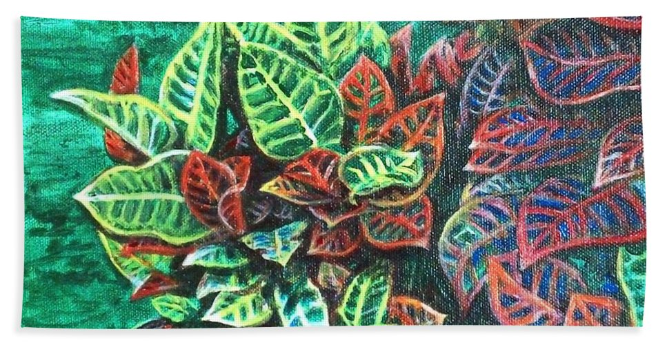 Crotons Beach Towel featuring the painting Crotons 3 by Usha Shantharam