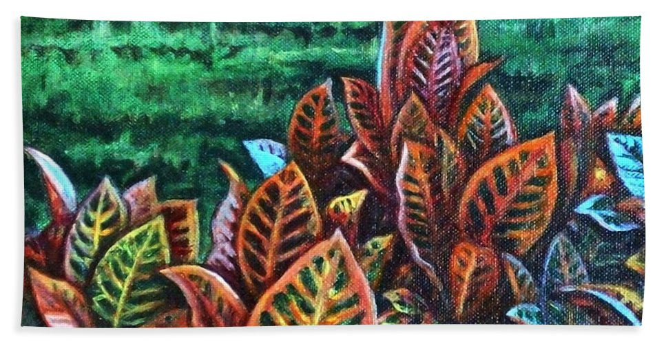 Crotons Beach Towel featuring the painting Crotons 4 by Usha Shantharam