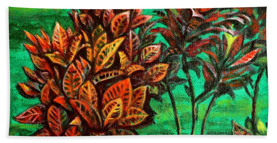 Crotons Beach Towel featuring the painting Crotons 5 by Usha Shantharam