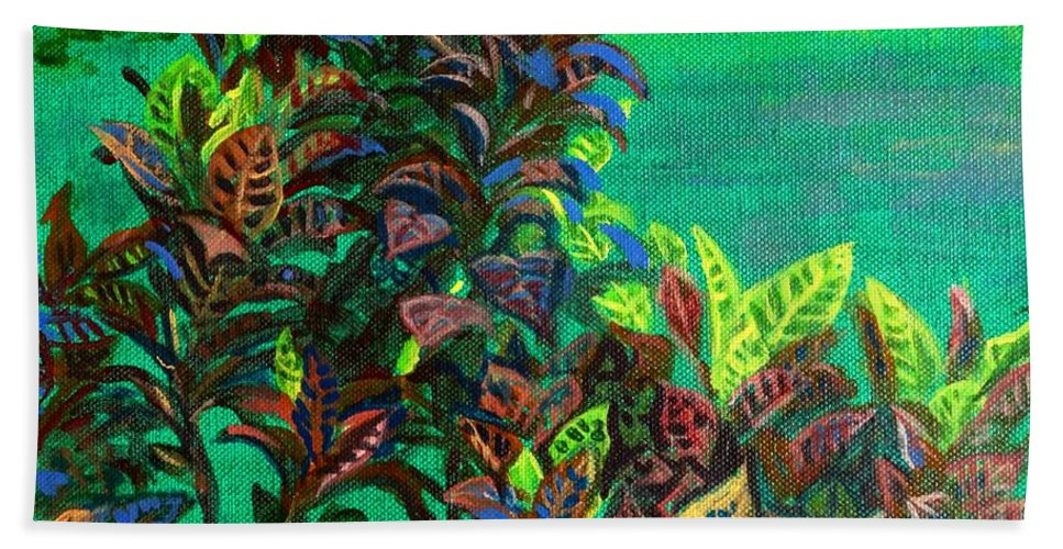 Crotons Beach Towel featuring the painting Crotons 7 by Usha Shantharam