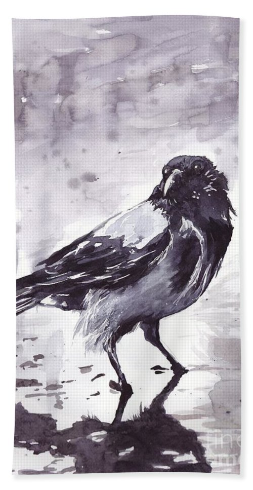 Pigeons Beach Towel featuring the painting Crow Watercolor by Suzann Sines